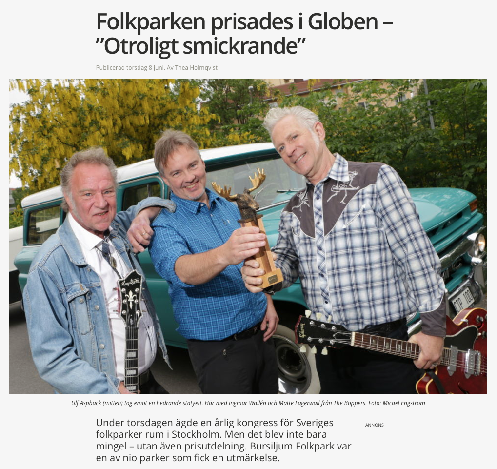 The Boppers prisade Folkpark i Globen
